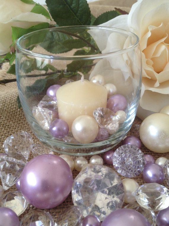 Jumbo Diamonds And Pearl Beads Vase Filler Scattercenterpiece