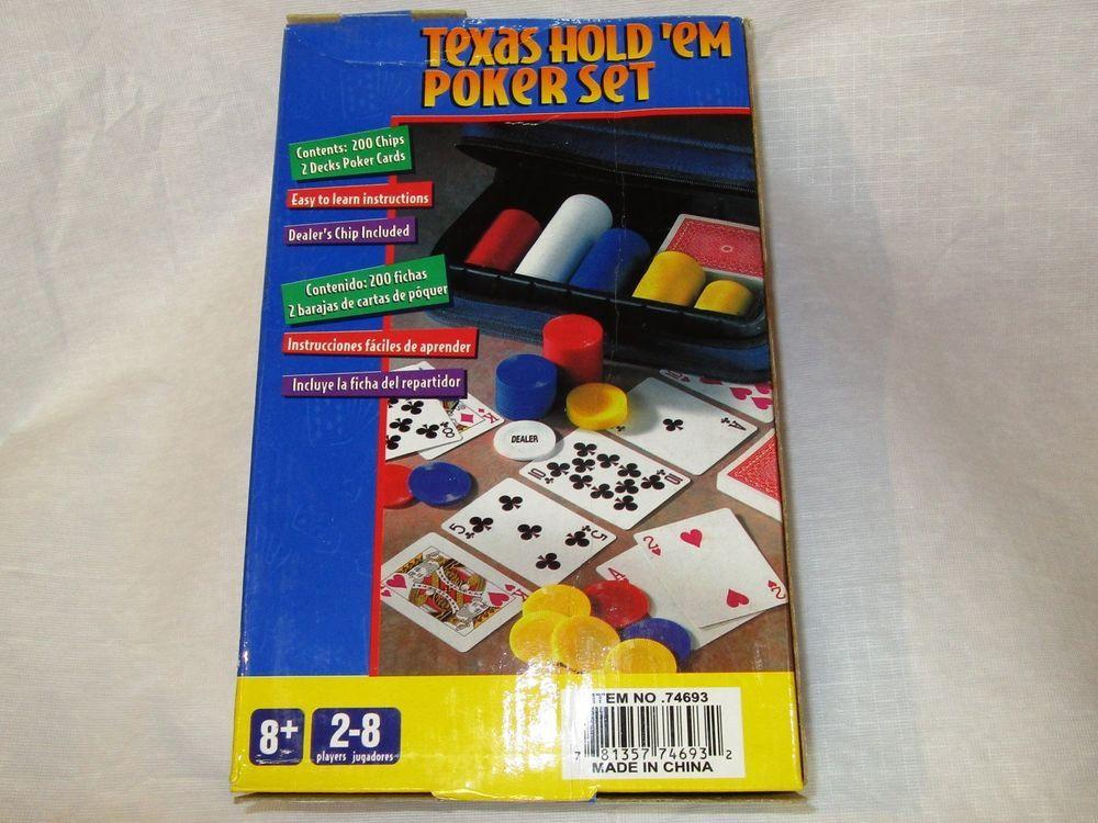 Texas Hold'em Poker Set 200 Chips + 2 Card Decks NEW