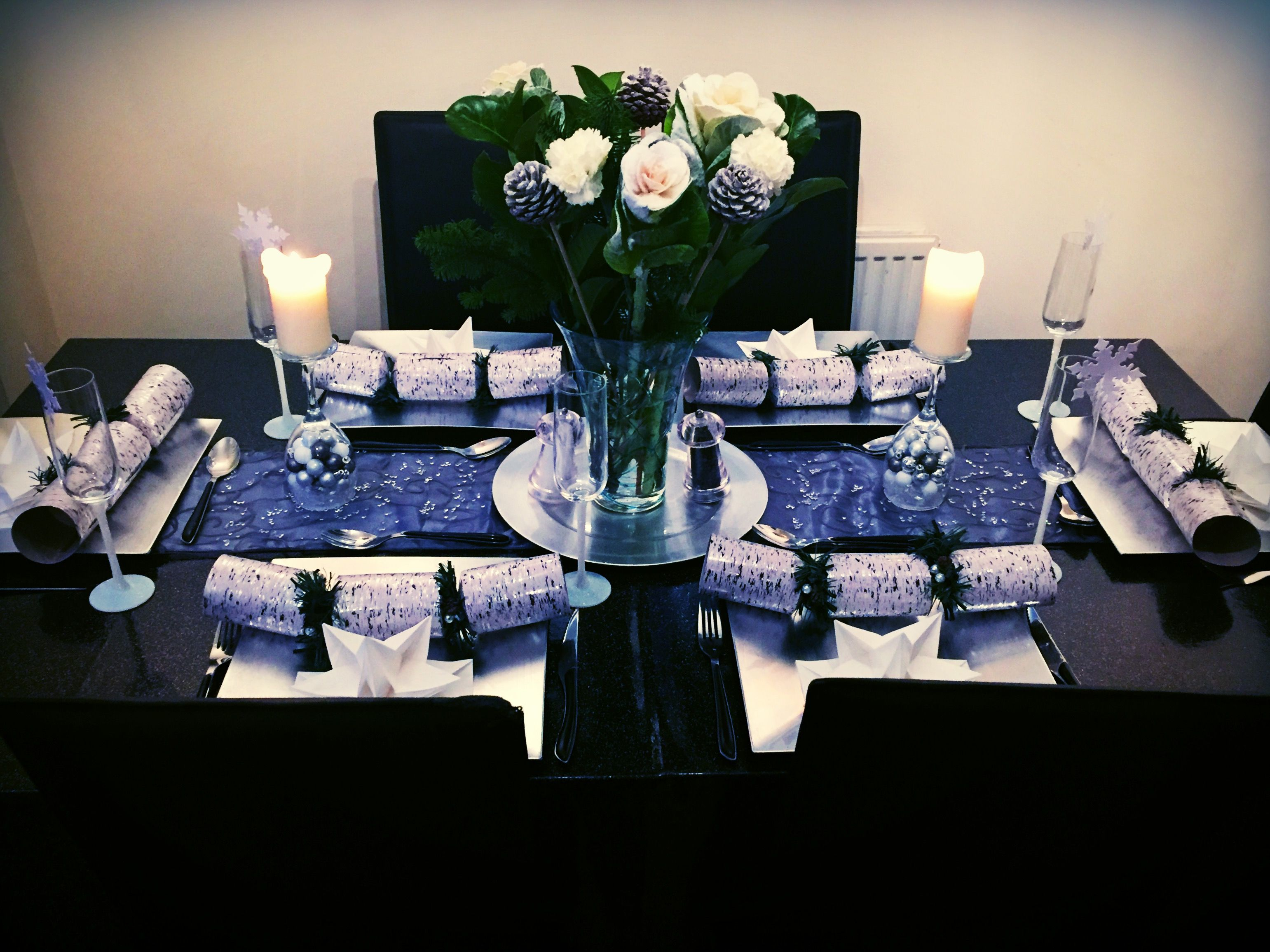 Silver & White Christmas Dinner Table Layout