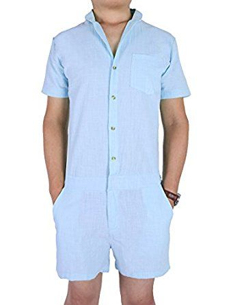 5f418cb9b77  23.99 Leapparel Mens One- Piece Short Sleeve Jumpsuit Casual Short Cargo Pants  Rompers Slim Fit Party Overalls Boyfriend Shorts Work Pants
