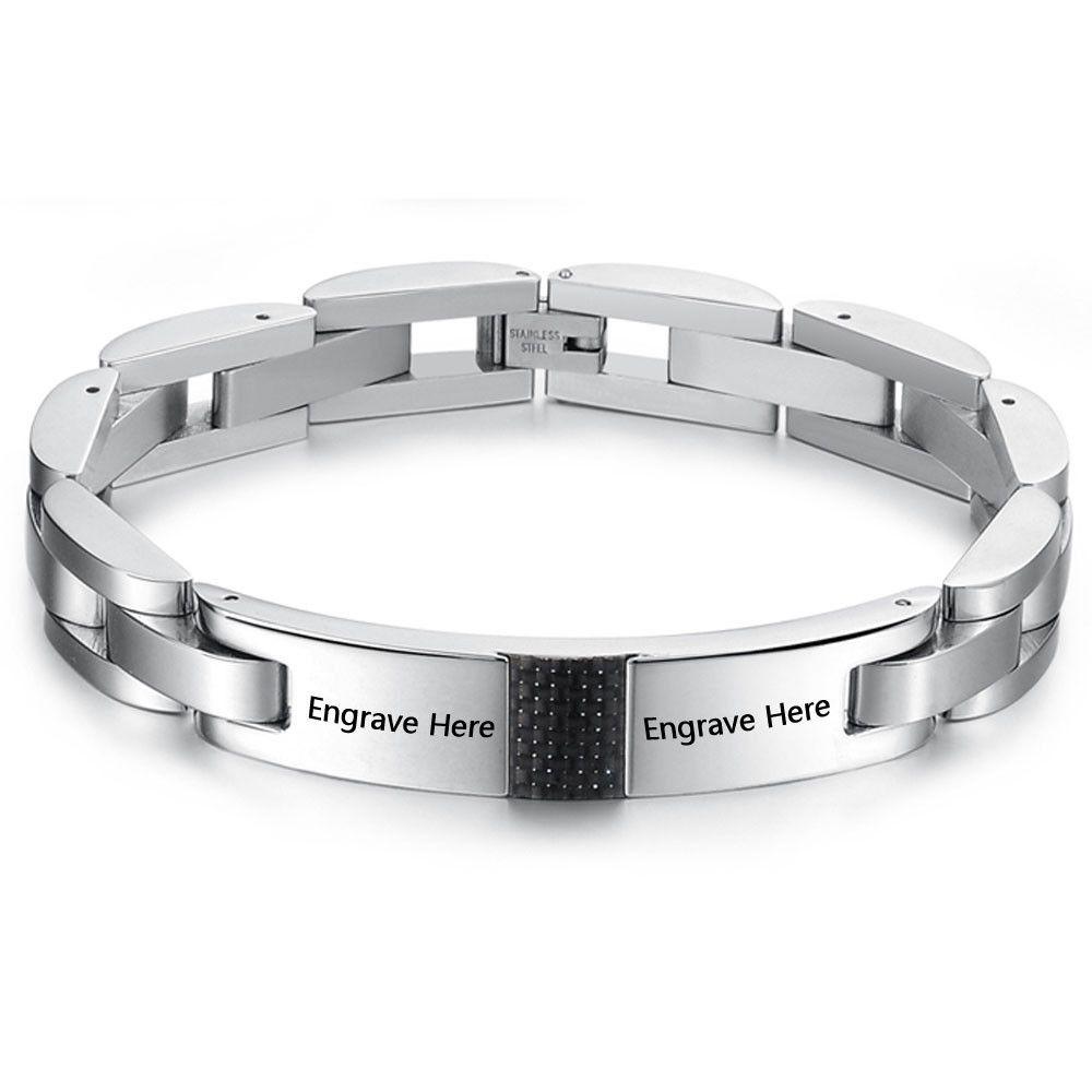 Personalized name jewelry titanium steel bracelets for women men id