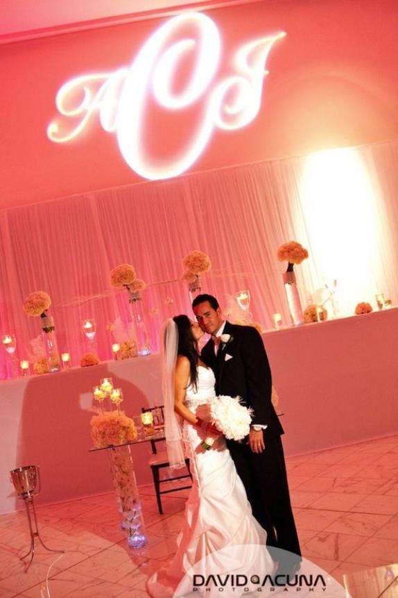 Pinkish coral #uplighting with a #gobo. Love! #rentmywedding #diyevent #diy #event #lighting