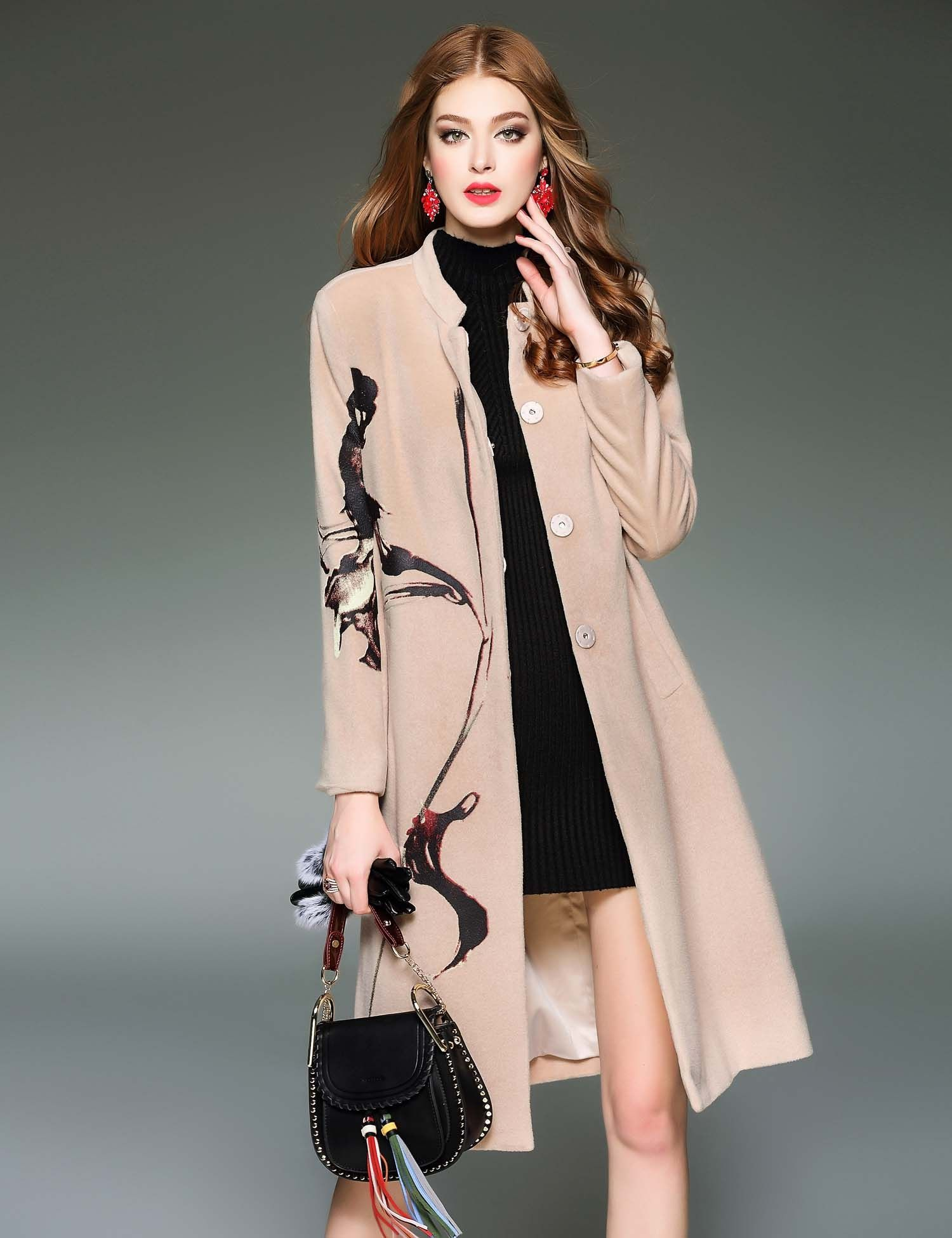 Apricot D. FANNI Design Stand Collar Long Sleeve Prints