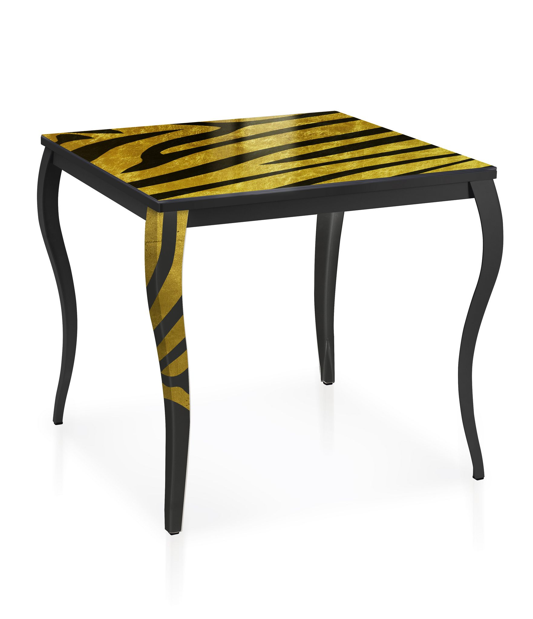 savana table with extra clear tempered decorated glass top