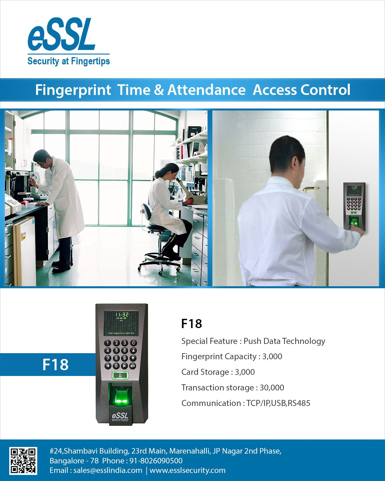 F18 Fingerprint Time Attendance and Access Control System | Chennai