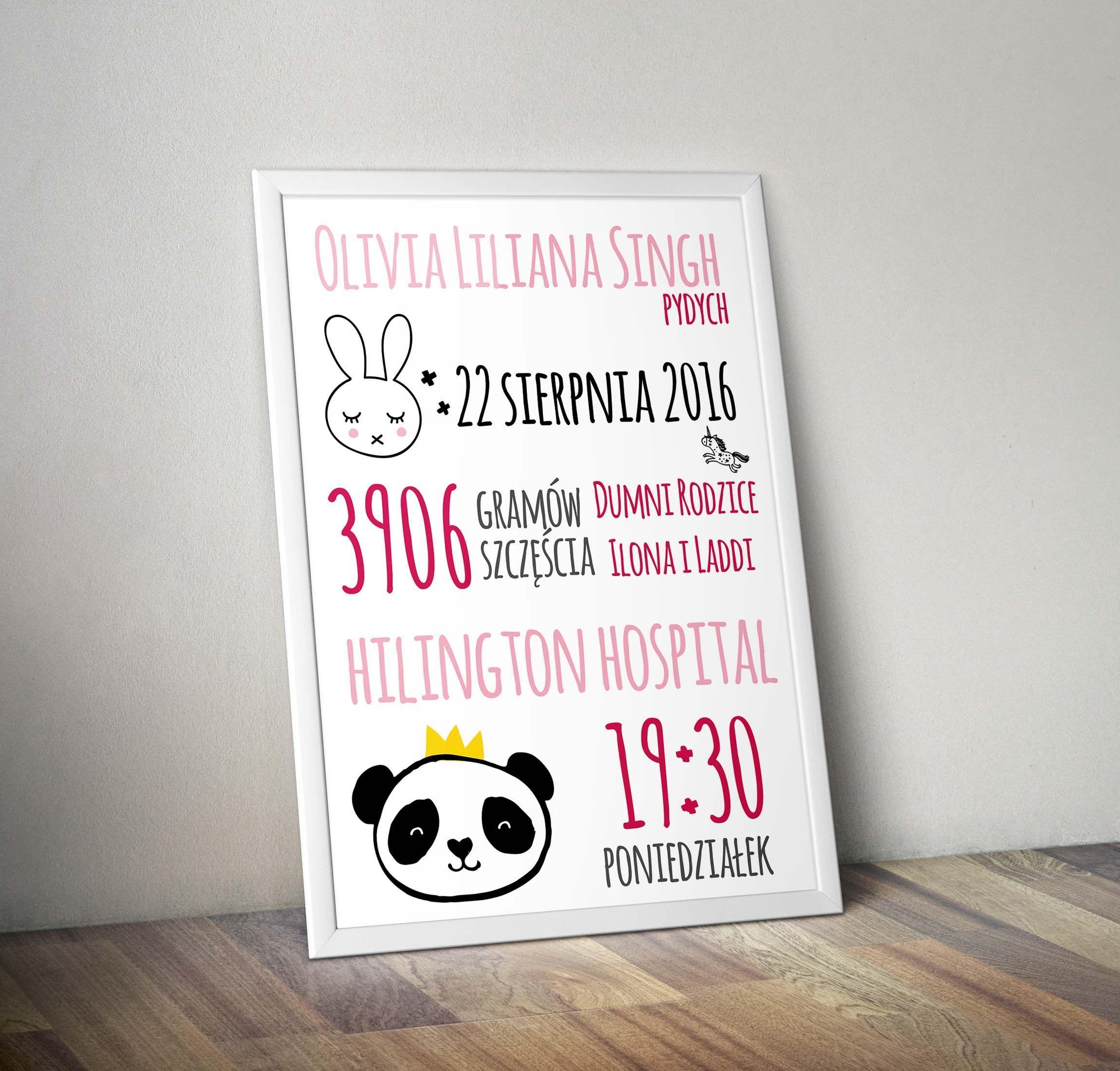 Pan Krolik I Panda Metryczka Dla Dziecka Prezent Dla Noworodka