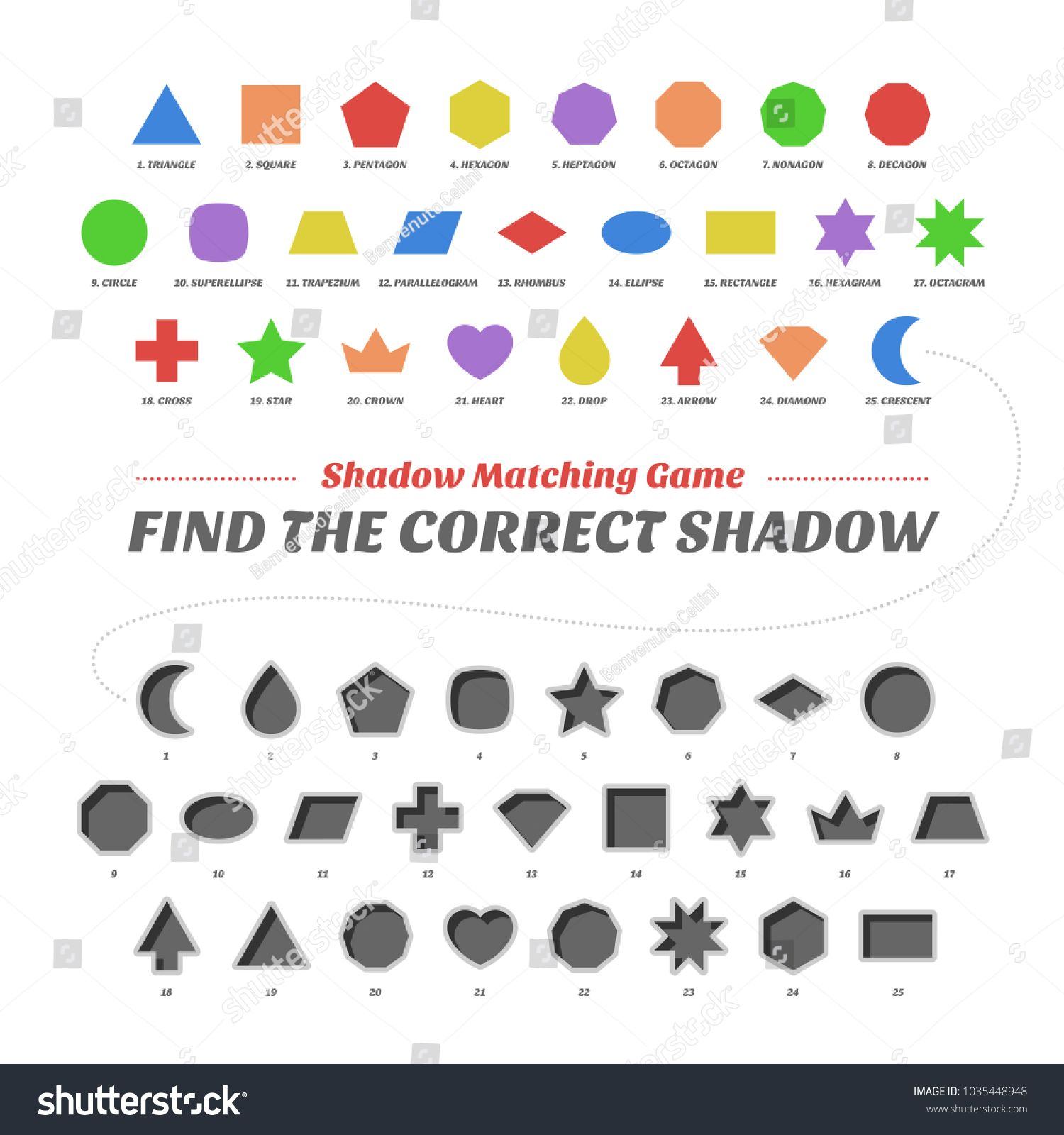 Shadow Matcing Game Find The Correct Shapes Worksheets
