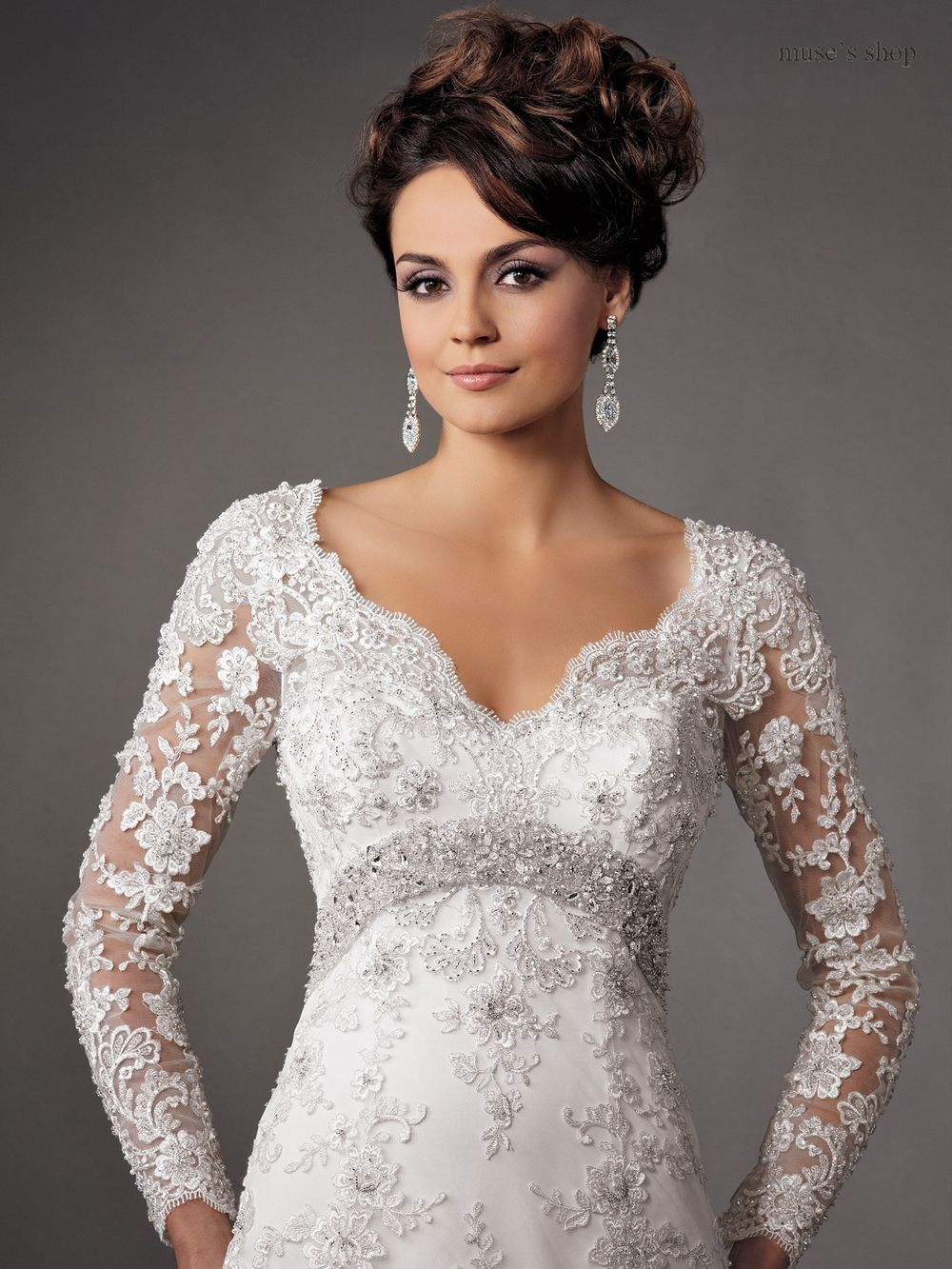2015 Backless Long Sleeve Wedding Dress Bridal Gown Custom