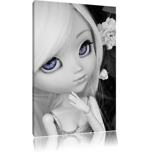 Pretty Little Doll With Purple Eyes Black And White Photographic Print On Canvas East Urban Home Size 100 Cm H X 70 Cm W In 2020 Canvas Prints Canvas Cool Eyes