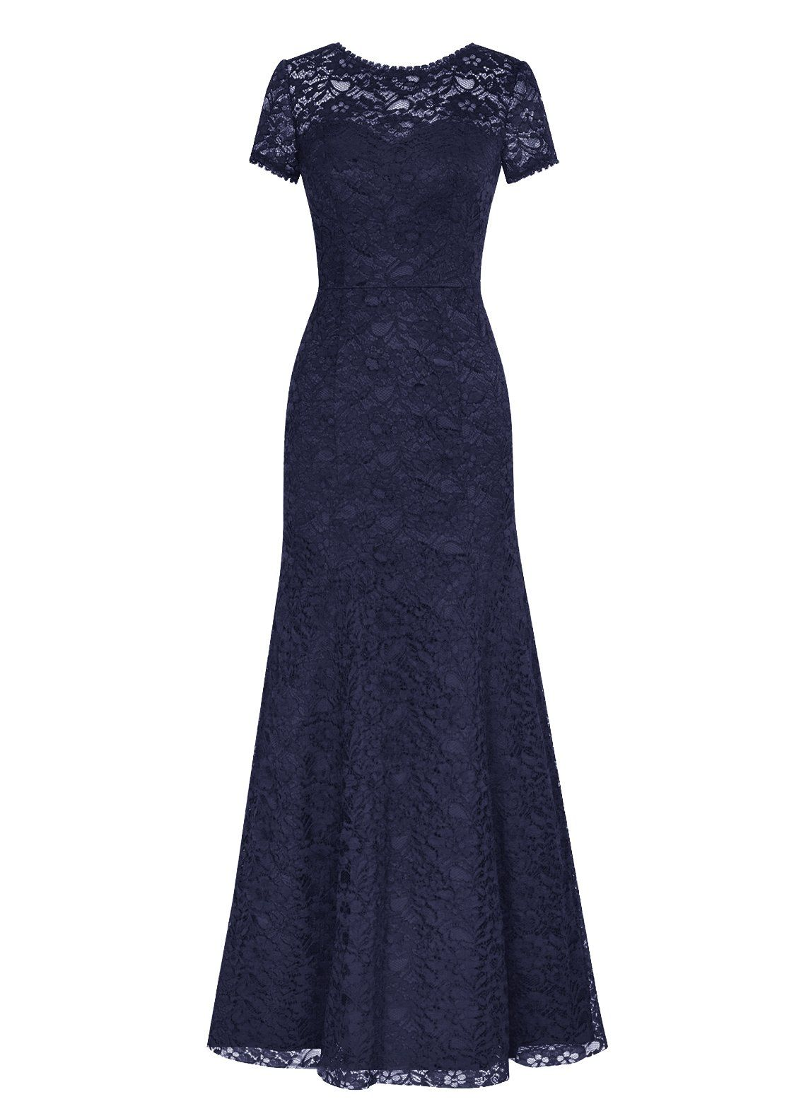 Dresstells long lace bridesmaid dress short sleeved evening gown