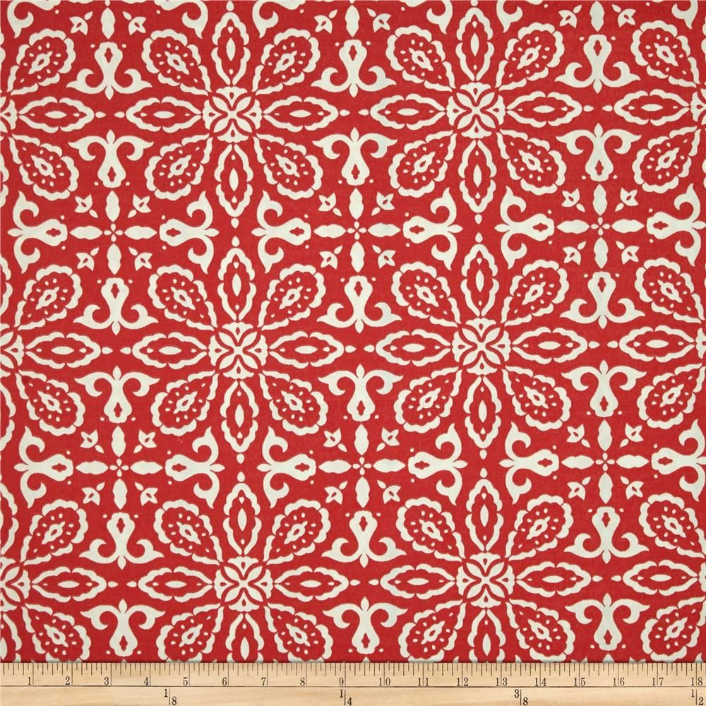 Tempo Indoor/Outdoor Geo Florals Red from @fabricdotcom  Outdoor fabric is perfect for outdoor settings and indoors in sunny rooms and family rooms. This medium weight fabric is fade resistant up to 500 hours of direct sun exposure. Perfect for decorative accent pillows, chair pads, cushions, deck chairs, slipcovers, upholstery, tabletop and tote bags. To maintain the life of the fabric bring indoors when not in use. Colors include ivory and red.
