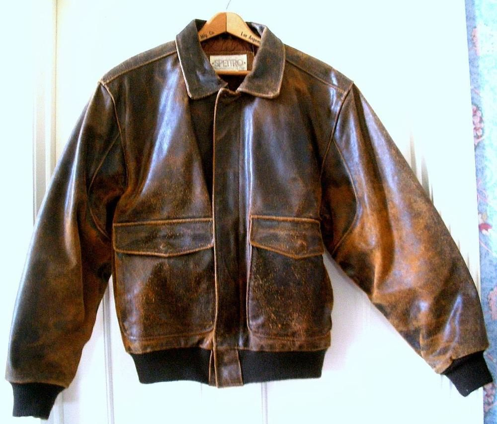 VTG. Men's SPETTRO Distressed Brown Leather Motorcycle Flight ...