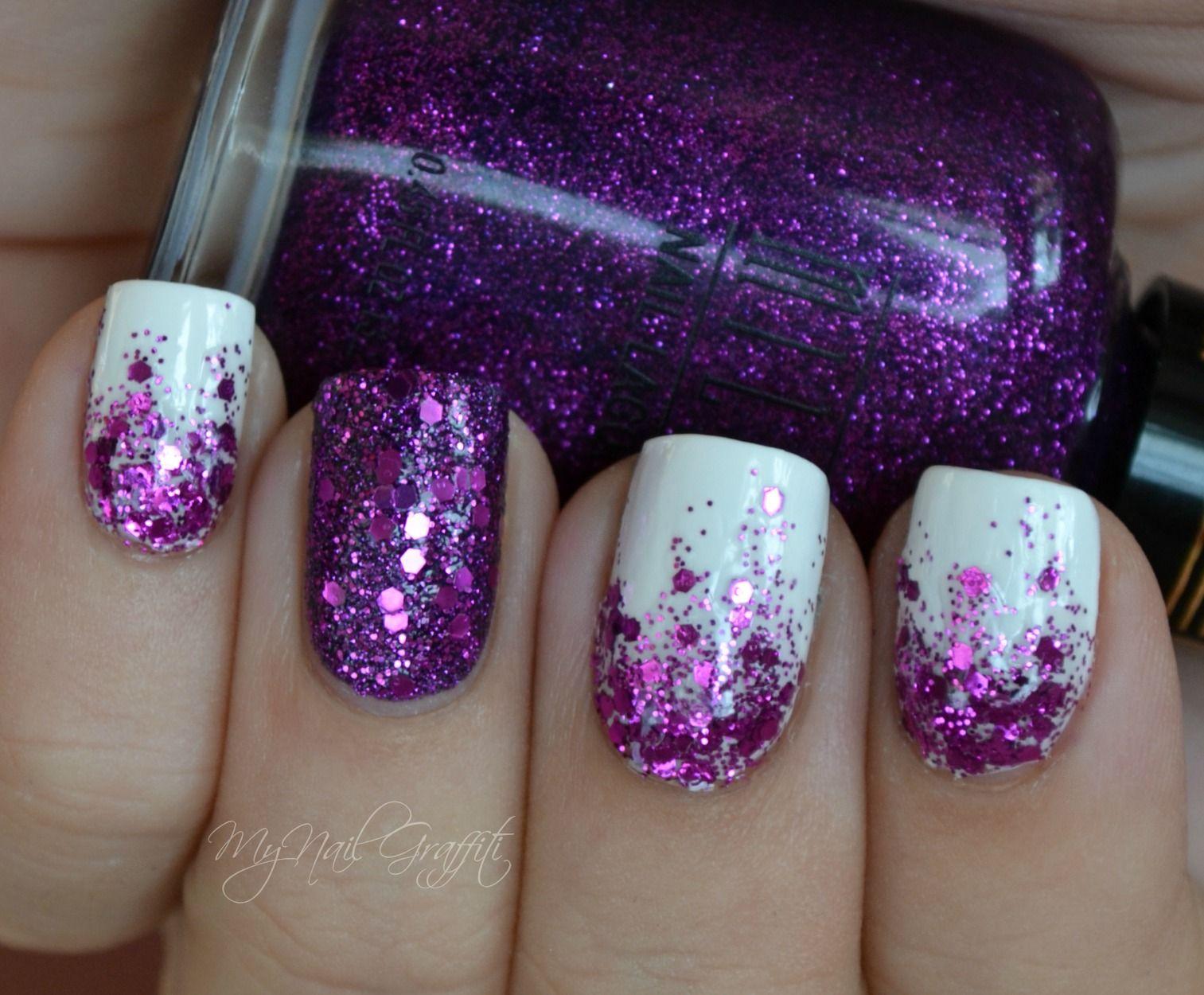 Nail Art Ideas purple and gold nail art : My Nail Graffiti: Purple Glitter Gradient Use a yellow gold polish ...