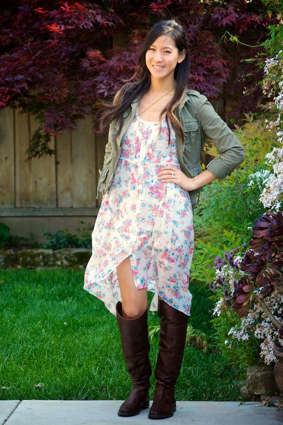 High Low Fl Dress With Tall Boots Outfit