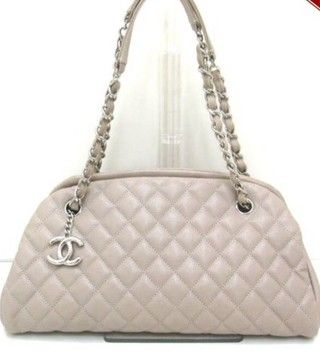205d42dc8266 Chanel Mademoiselle Bowling Gray Beige Caviar Skin Leather Shoulder ...