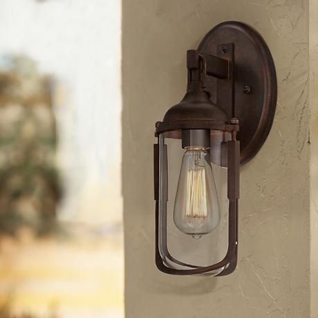 An industrial style outdoor wall light with rich bronze finish and an industrial style outdoor wall light with rich bronze finish and vintage style edison bulb mozeypictures Image collections