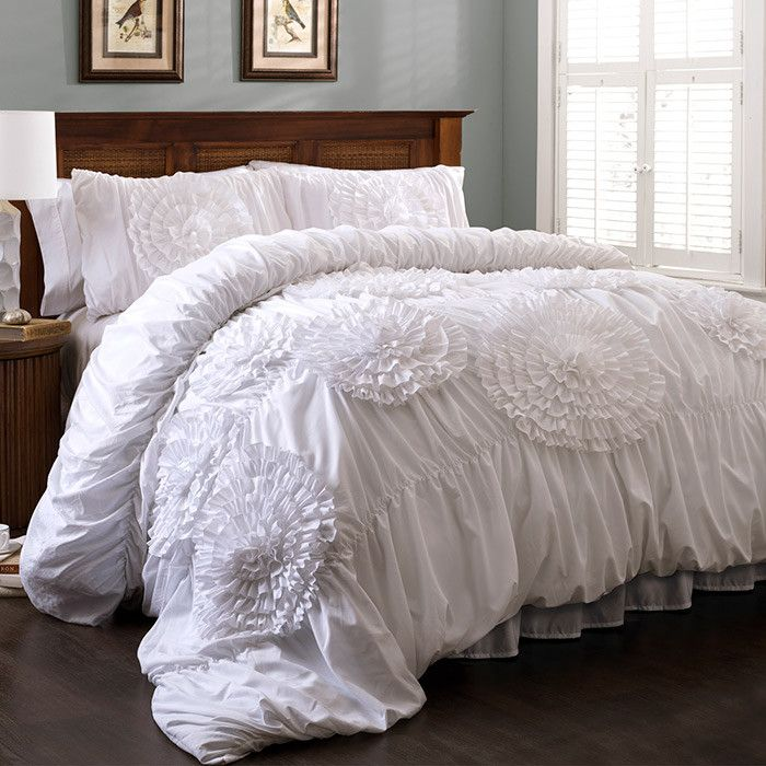 3 Piece Lavinia Comforter Set In White Ruched Ruffled On Joss