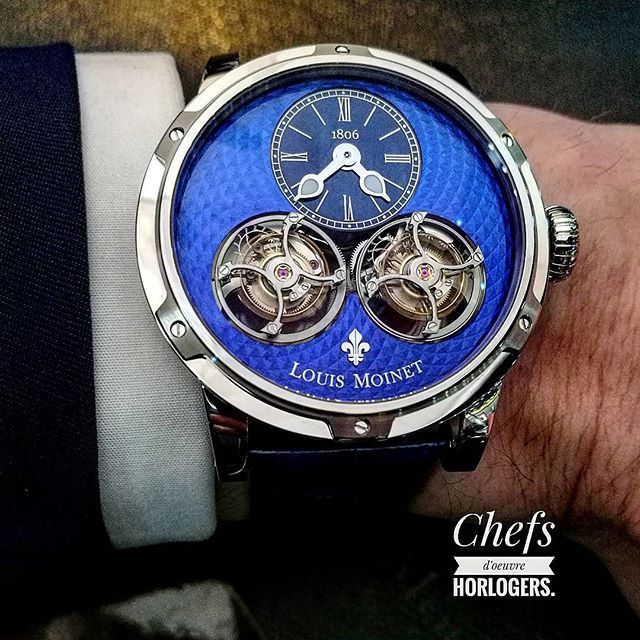 REPOST!!! Louis Moinet Sideralis Magic Blue. Novetly baselworld 2017. @louismoinet #louismoinet #sideralis #magicblue #novelty #blue #baselworld #baselworld2017 #tourbillonwatch #tourbillon Photo Credit: Instagram ID @chefs_d_oeuvre_horlogers