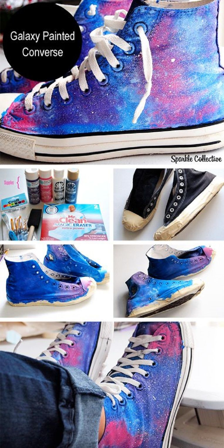 677e2cfcb2eb Galaxy Painted Converse - 20 Simple DIY Clothes Refashion Tutorials for  Spring