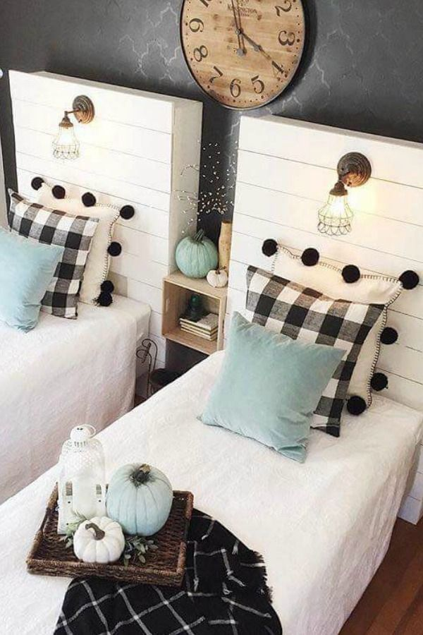 Black White Buffalo Check Farmhouse Bedroom Decor