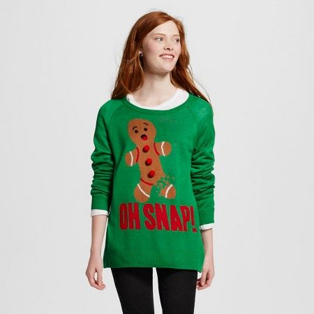 Women's Oh Snap! Gingerbread Man Ugly Christmas Sweater Green ...