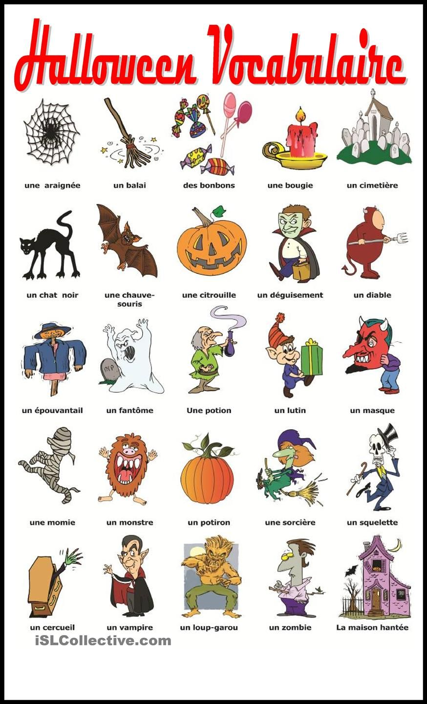 halloween vocabulaire education halloween vocabulary french worksheets learn french. Black Bedroom Furniture Sets. Home Design Ideas