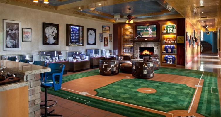 Luxury Man Cave Ideas : Baseball theme luxury man cave with custom carpet and
