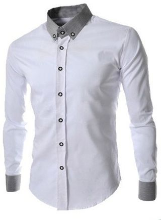 3b3f1eb34b Camisa Social Clasica con Cuello Americano - Blanca