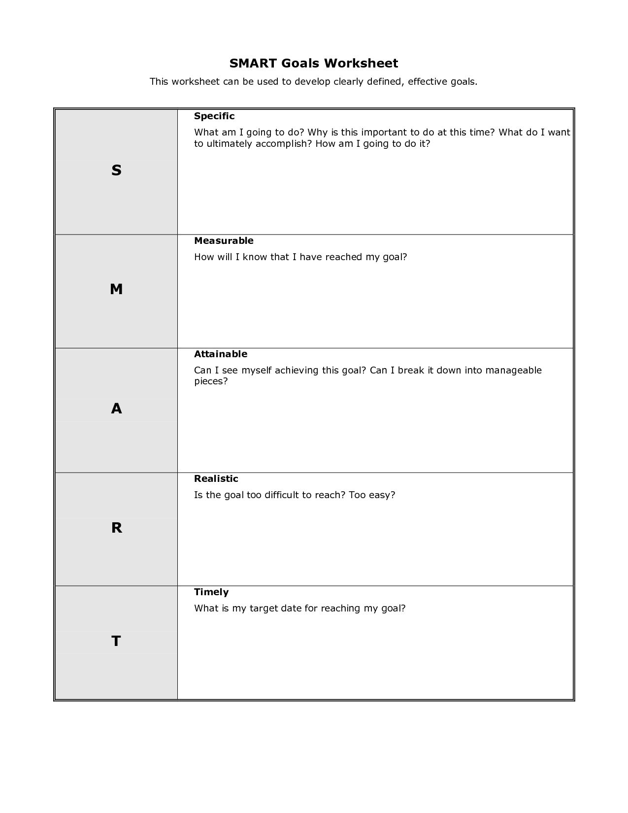 Goal Setting Worksheet For High School Students In