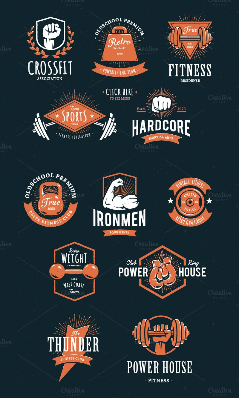 Retro Gym Logo Templates Sports logo design, Gym logo