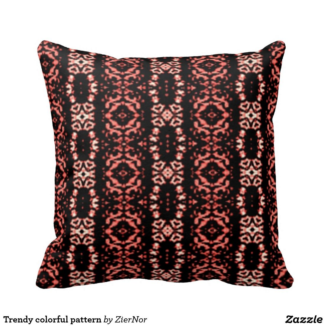 Trendy colorful pattern throw pillow