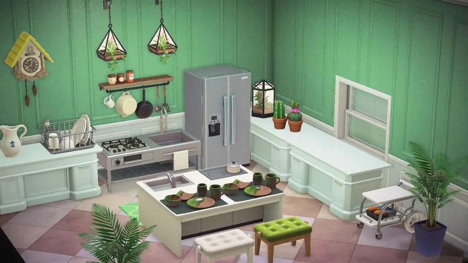 White Den Desks turned around for countertops. || Kitchen ... on Animal Crossing Kitchen Counter  id=32408