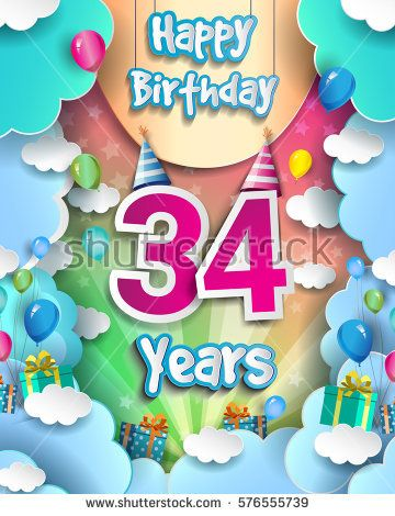 34 years birthday celebration design for greeting cards and poster