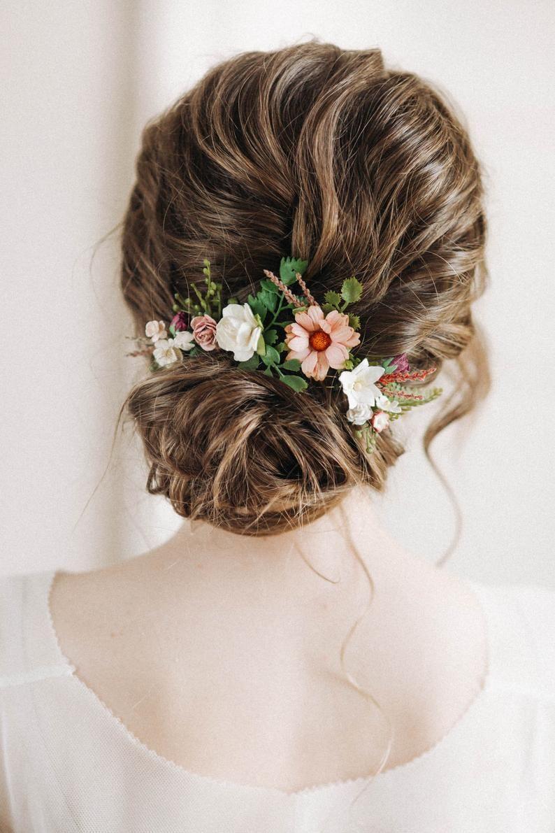 Flower Hair Pins Beige Hair Pins Ivory Hair Pins Fall Hair Etsy In 2020 Floral Hair Pins Flower Hair Pin Floral Hair Pieces