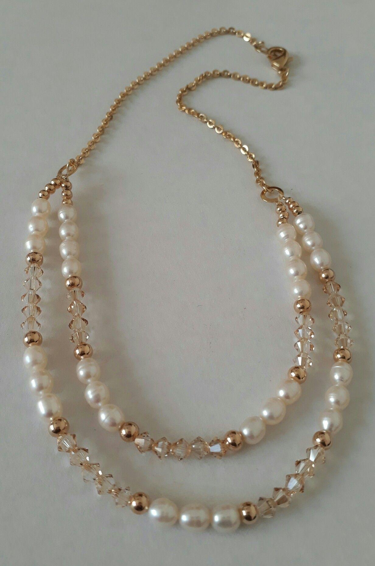 be89ff431318 Perlas de río y cristales Swarovski. Creaciones Little Flower. Bisutería  fina 100% artesanal.