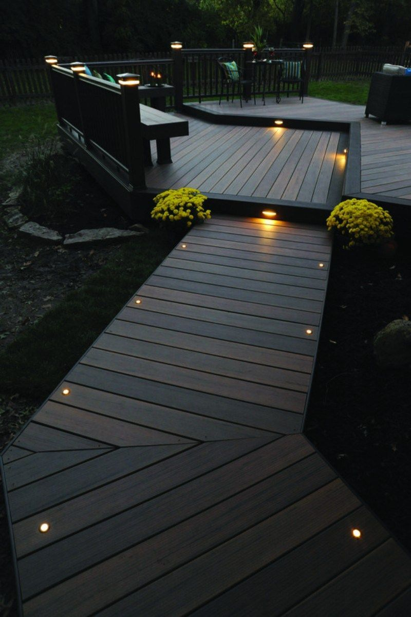This More Modern Outdoor Lighting Makes A Wood Finish Patio In A Shabby Chic Garden Look Elegant Outside House Decor Patio Deck Designs Backyard