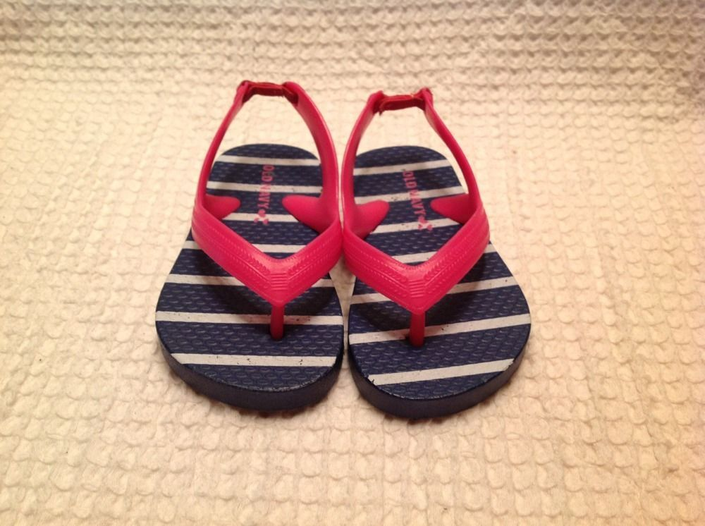 e49fb87be3db Old Navy Toddler Girl Pink   Navy Strip Thong Summer Sandals Size 5 ...