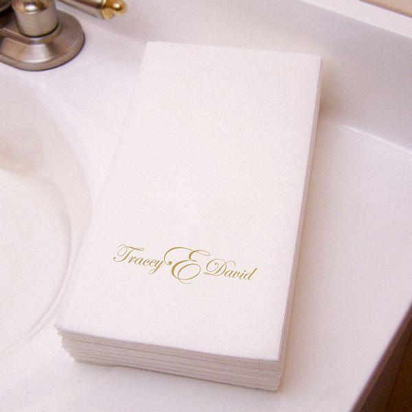 Masslinn Guest Towel Printed With Gold Imprint M 32 Monogram