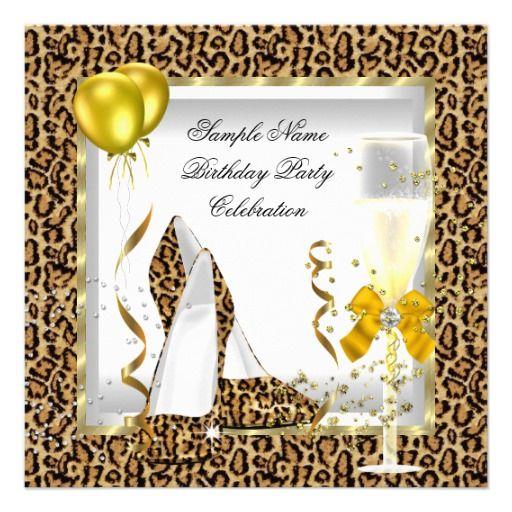 Leopard Gold Glitter Heels Yellow Birthday Party Custom Invite