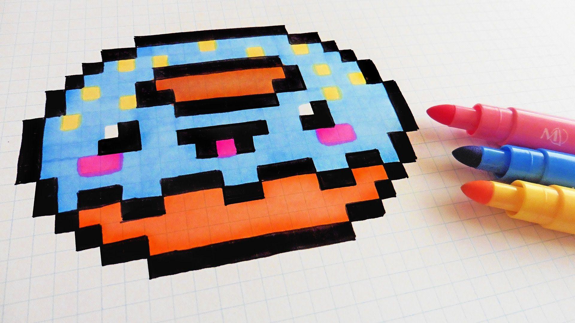 Handmade Pixel Art - How To Draw Kawaii Donut #pixelart | Pixel art ...