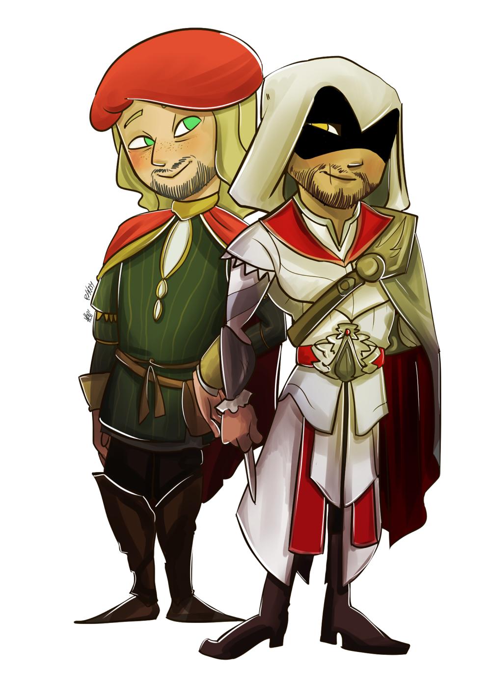 ACB] Ezio and Leonardo | My men!! XD | All assassin's creed