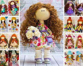 Baby Room Doll Love Winter Doll Handmade Cloth Doll Decor Rag Doll Fabric Tilda Doll Purple Nursery Doll Textile Soft Doll Gift by Evgenia