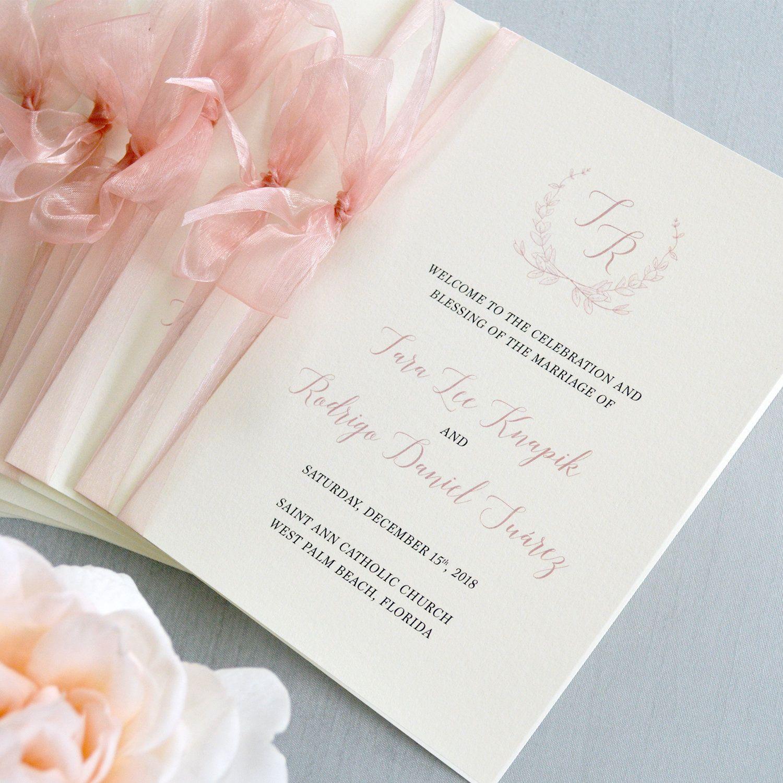 Wedding Program With Blush Sheer Ribbon