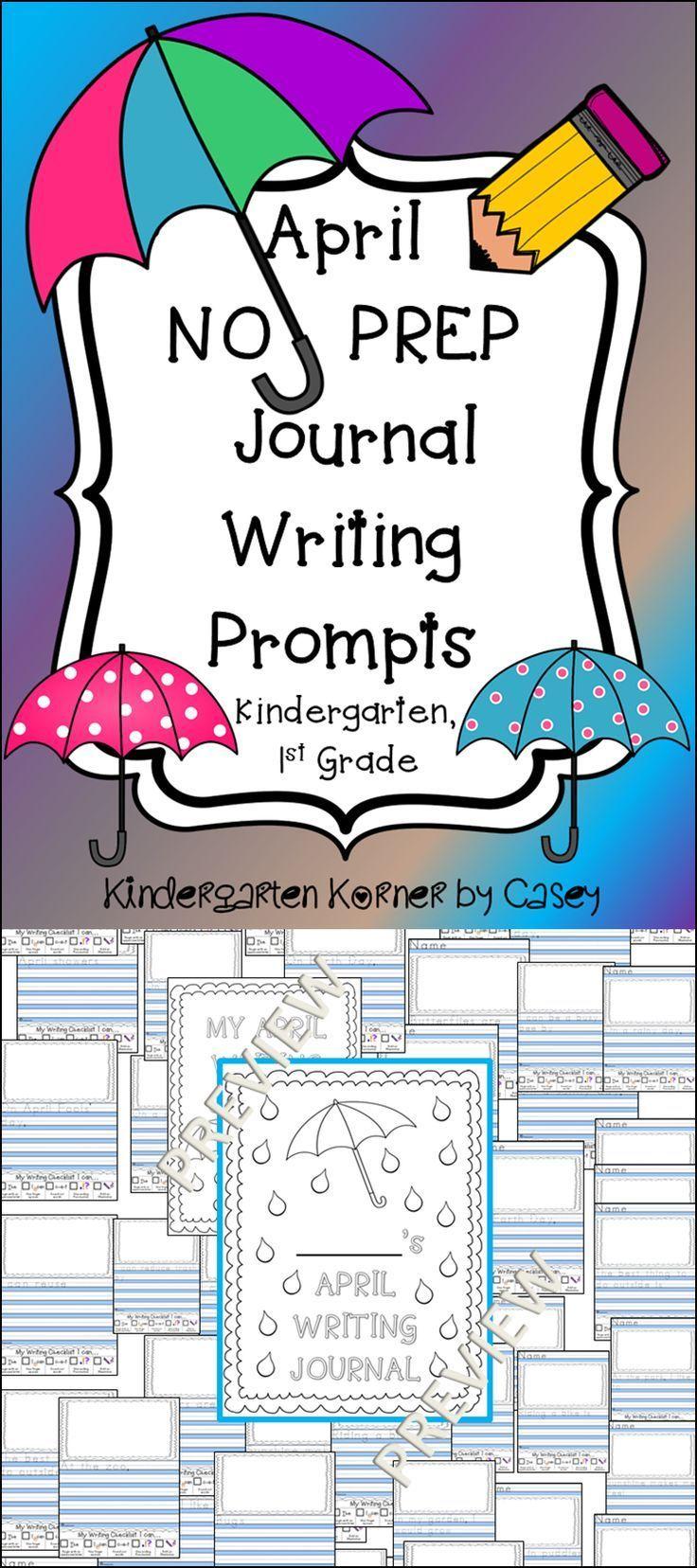 April no prep journal writing promptskindergarten 1st