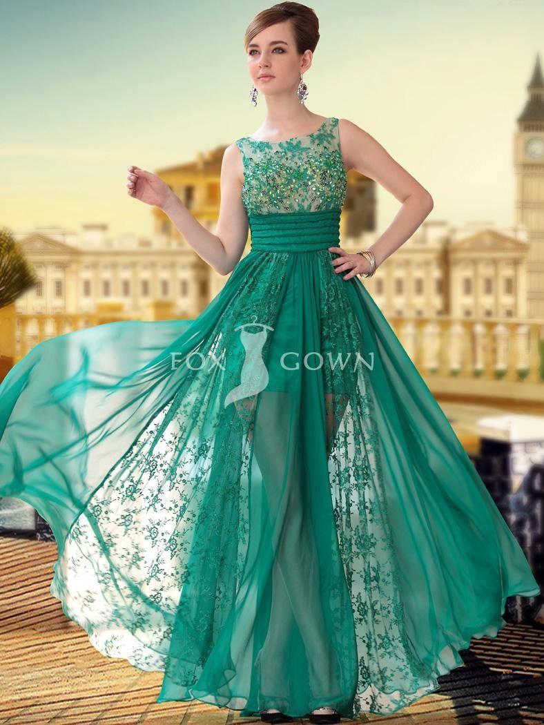 Grüne Perlen Mieder schiere formaler Kleid mit Lace a-Linie Rock ...