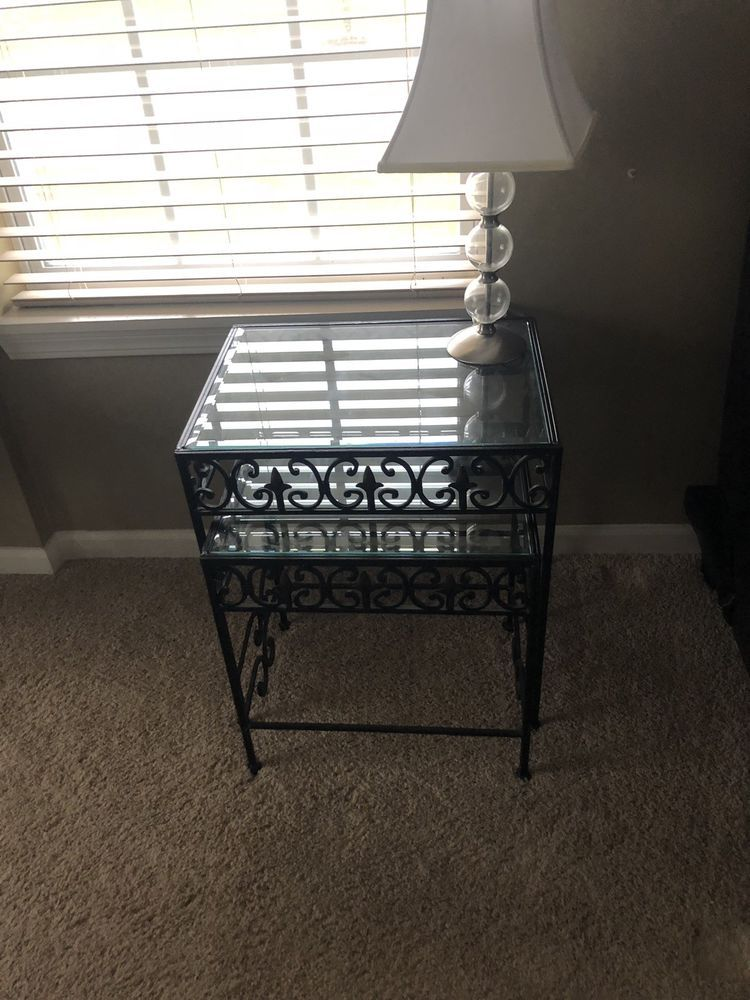 Icymi 2 Nesting Accent Tables Gl And Cast Iron 28 60 0 Bids End Date Sunday Nov 4 2018 6 27 45 Pst It Now For Only 39 99
