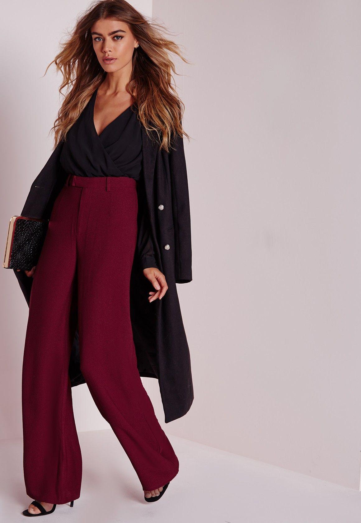 5b081bab491b Petite Premium Crepe Wide Leg Trousers Burgundy - Tall - Trousers -  Missguided