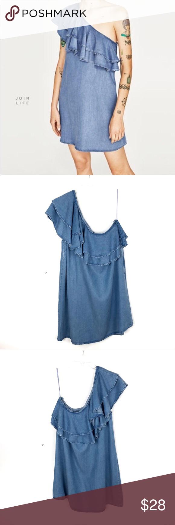 3 For 20 Zara One Shoulder Chambray Ruffle Dress Denim Ruffle Dress Premium Denim Clothes Design [ 1740 x 580 Pixel ]