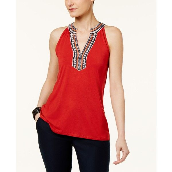 2f4d4eca5a079b Cupio by Cable   Gauge Sleeveless Embroidered Top featuring polyvore  women s fashion clothing tops red rust tie halter top red halter neck top  sleeveless ...