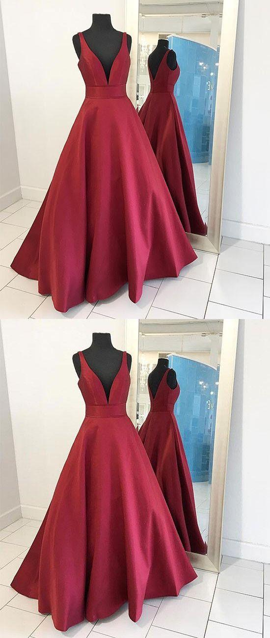 973e07bdc5ecd Elegant A-Line V-Neck Sleeveless Burgundy Satin Long Prom Dress from ...